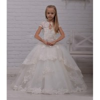 DF6304 Elegant White lvory Ball Gown Flower Girl Dress