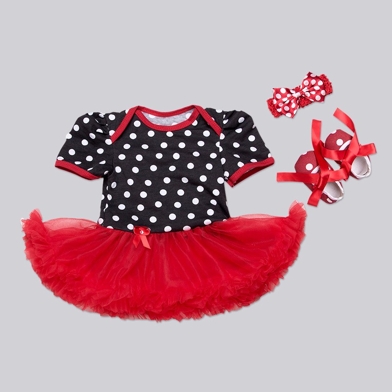 d64485a0b ④2017 Girl Set Polka Dot Tutu Dress+Headband+Shoes 3pcs Sets Cute ...