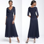 Navy Mother of the Bride Dresses Tea Length