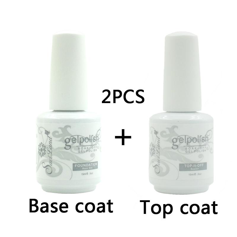 2pcs Brand Saviland 15ml Gelpolish Gel Nail Polish Soak Off Glue Base Coat Top