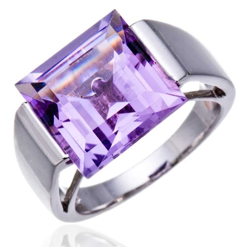 093042712fb8 ᗔHutang natural 12.0mm Amethyst Gemstone sólido 925 anillo de plata ...