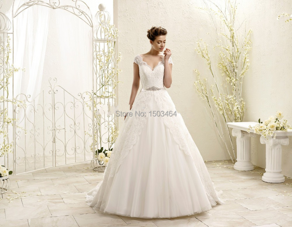 Discount Sweetheart Appliqued Cap Sleeves Beaded Ball Gown