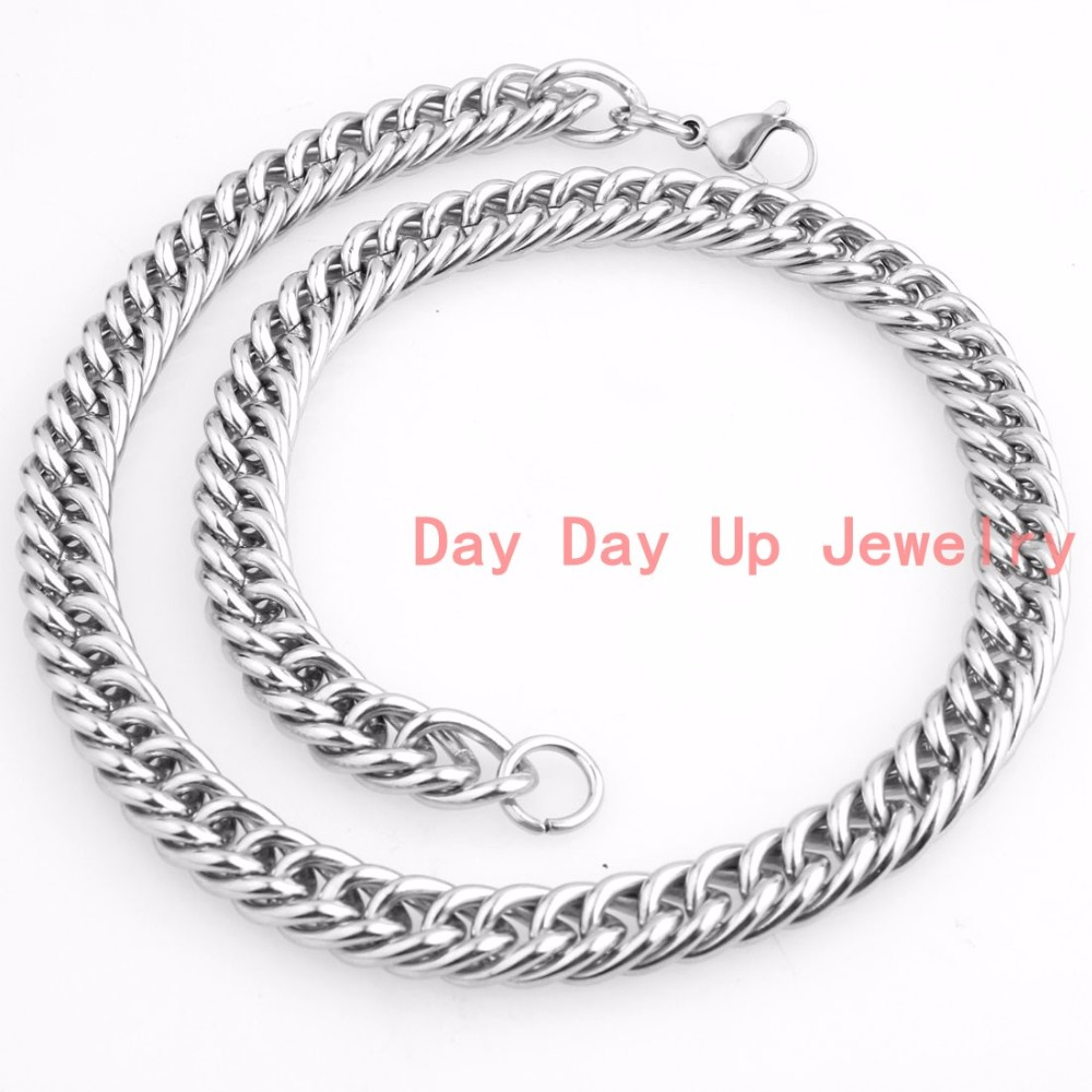 2175995f640a ᗚ12mm 7 -40 moda 316L plata del acero inoxidable pulido curb cubano ...