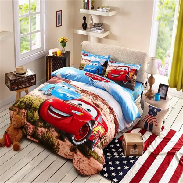 Cute Cars Bedding Set Boys Sports Soft Childrens Comforter Sets Twin Queen-in
