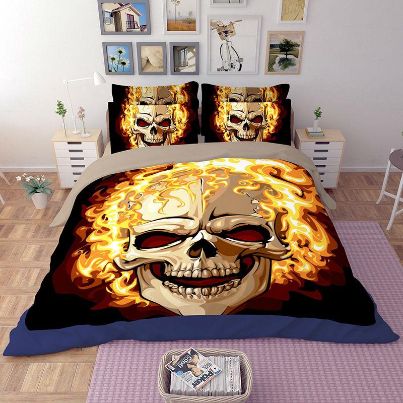 ᗐPrecio especial HD Quema de Esqueleto Cráneo 3D Juegos de Cama