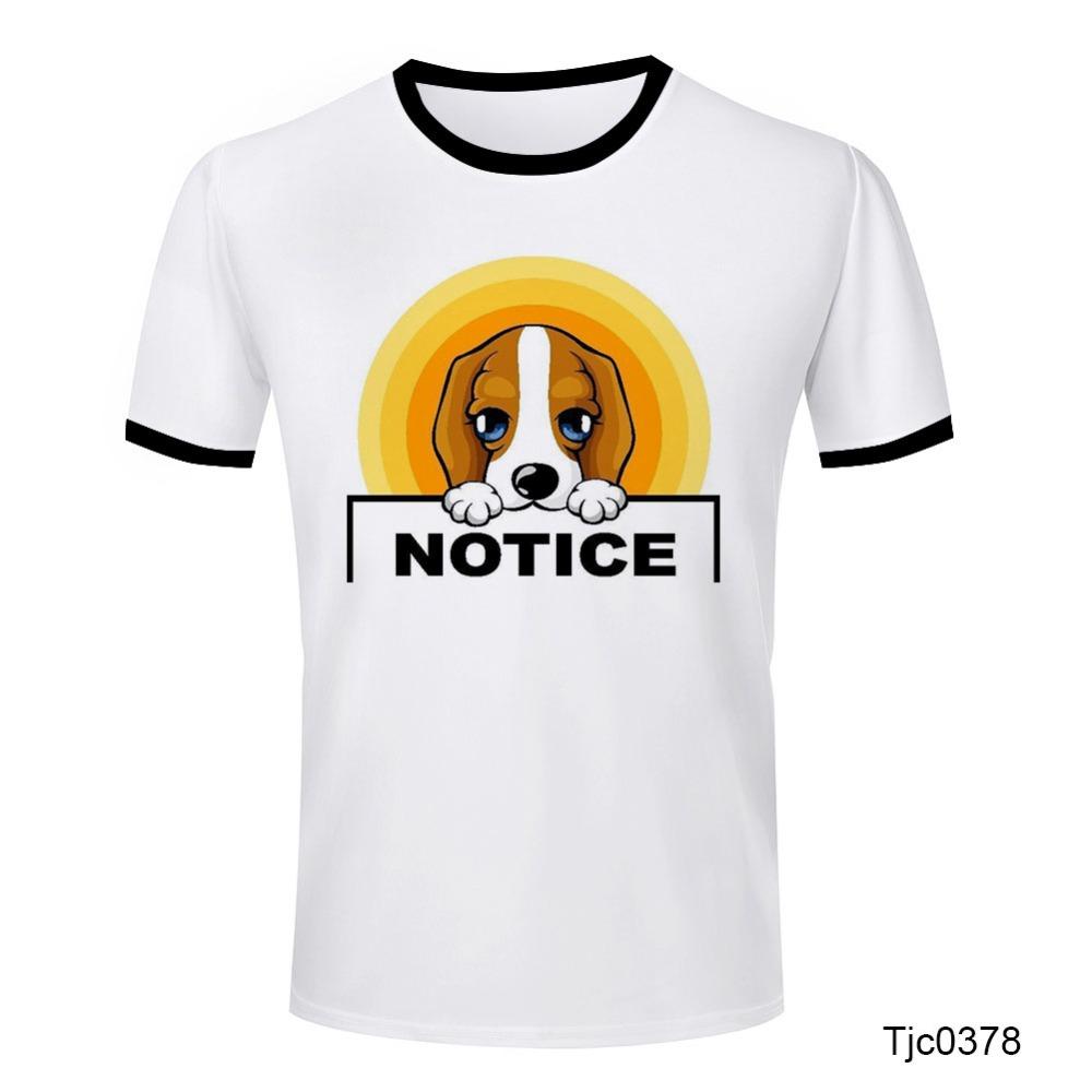 Hot Sale Design Print dog notice T Shirts O Neck Tops