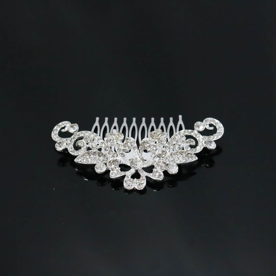 24e8131e76ca ₩Nueva flor de cristal horquilla del pelo peine Clips moda novia de ...