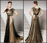 Black and Gold Long Evening Dresses