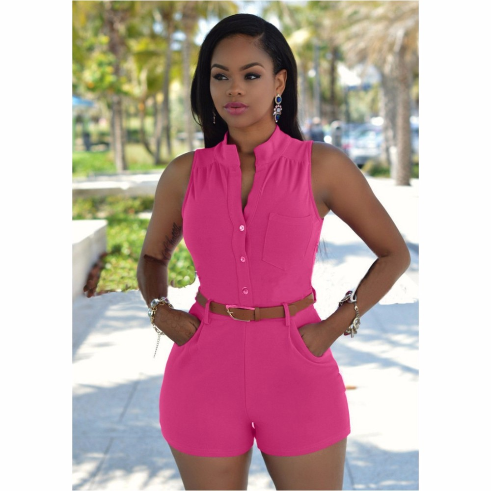 ᗛFk1503 mujeres verano casual playsuits sin mangas Botones cinturón ...