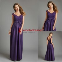 New Style Beach V neck Floor Length Purple Cap Sleeves ...