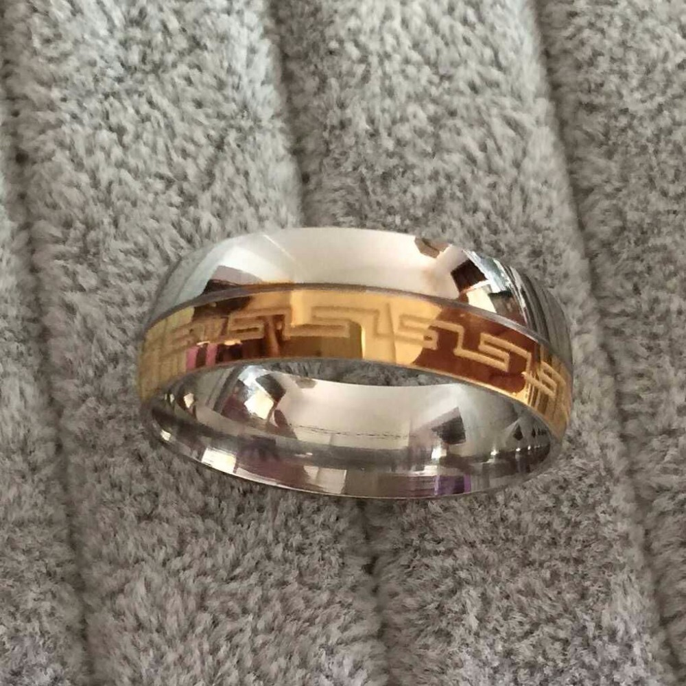 Brand Luxury Large 8mm Silve Gold Plated Two Tone Wedding