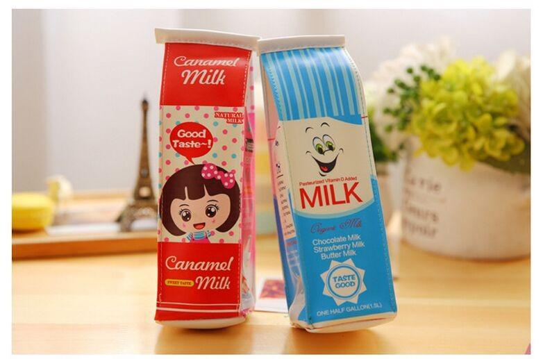 ΞCaja de la leche de la simulación creativa lápiz caso pu cuero de ...