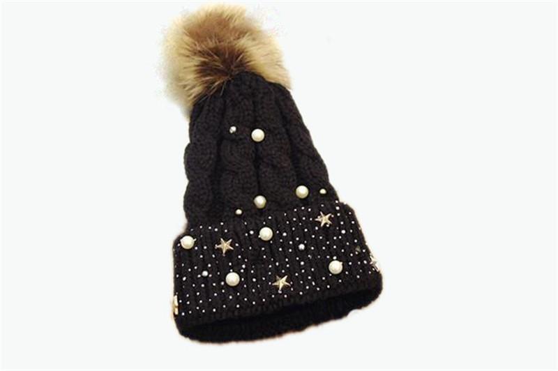 ᑎ‰Mujeres punta perla estrella sombrero grils invierno Fux fur POM ...