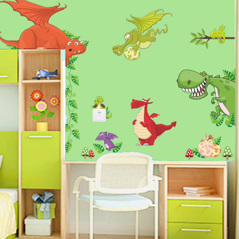 ୧ʕ ʔ୨DIY decorativo animales dinosaurio dragón vinilo etiqueta de ...