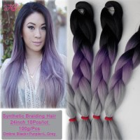 10Pcs Kanekalon Braiding Hair Purple Grey Synthetic ...