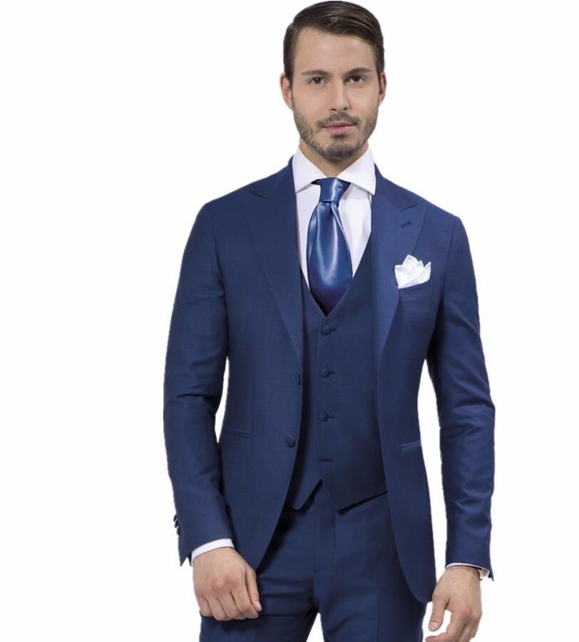 ②New Custom Made Men Suit Fashion Designer Blue suits Tuxedo ...