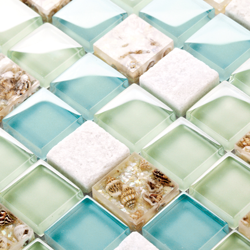 blue color crystal glass mixed sea shell mosaic HMGM1148