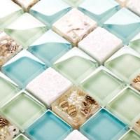 blue color crystal glass mixed sea shell mosaic HMGM1148