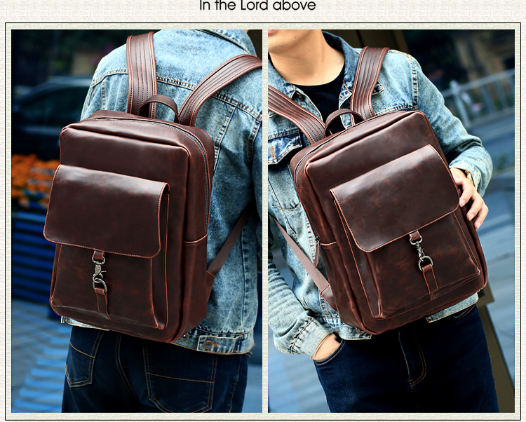 e82273e5f4f8 ... дизайнерские кожа Для мужчин рюкзак моды Винтаж Для женщин путешествия  рюкзак большой Ёмкость вещевой мешок тактическая сумка SAC a0153USD  28.88/piece