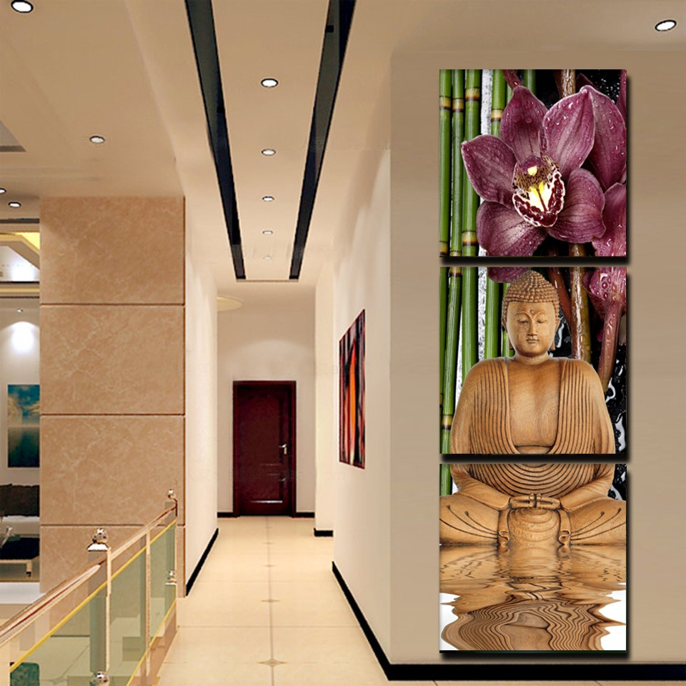 2ce8b58b4e9ab Click here to Buy Now!! 3 Piece Canvas Art Printed Buddha Painting  Decoracion Paintings Wall Canvas Pictures For Living Room Giveaways wall  sticker