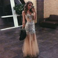 Sexy Champagne Mermaid Prom Dress 2016 Beaded Crystals ...