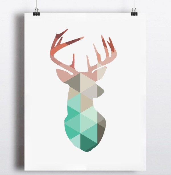 Geometric Deer Head Wall Art
