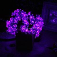 Purple Fairy Light Solar Outdoor String Lights 50 Blossom ...