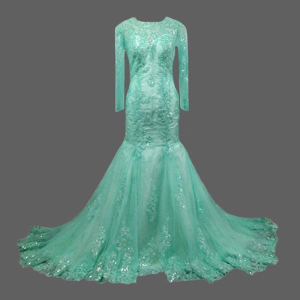Green Long Sleeve Prom Dresses