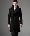 2015 new autumn Covered button wool coat men fit slim mens pea coat woolen fashion handsome
