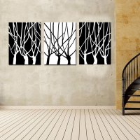 3 Picture Combination Black and White of Tree Wall Art