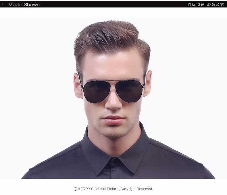 MERRY'S Design Men Classic Brand Sunglasses HD Polarized Aluminum Sun glasses Luxury Shades UV400 S'8728