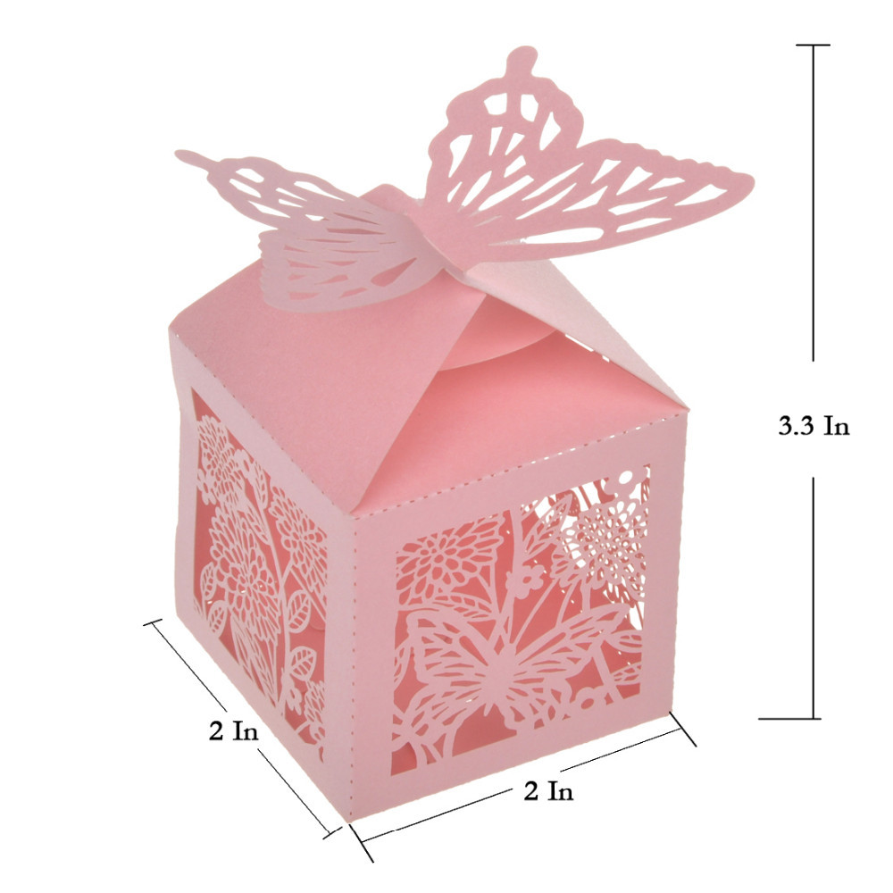 ᗑ】60pcs Pink Butterfly Wedding Favor Gifts Boxes Wedding Candy Box ...