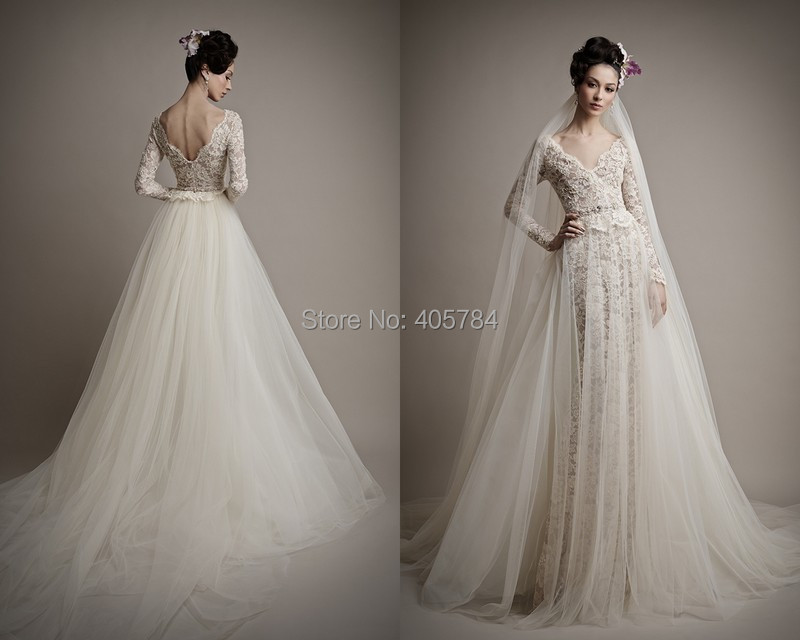V Neck Long Illusion Sleeves Lace Wedding Dresses With