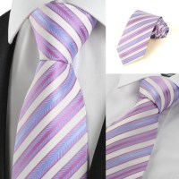 New 2014 Classic Pink Blue Striped Silk Tie for Men Neck ...