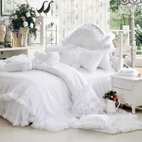 Luxury white falbala ruffle lace bedding set, twin queen ...