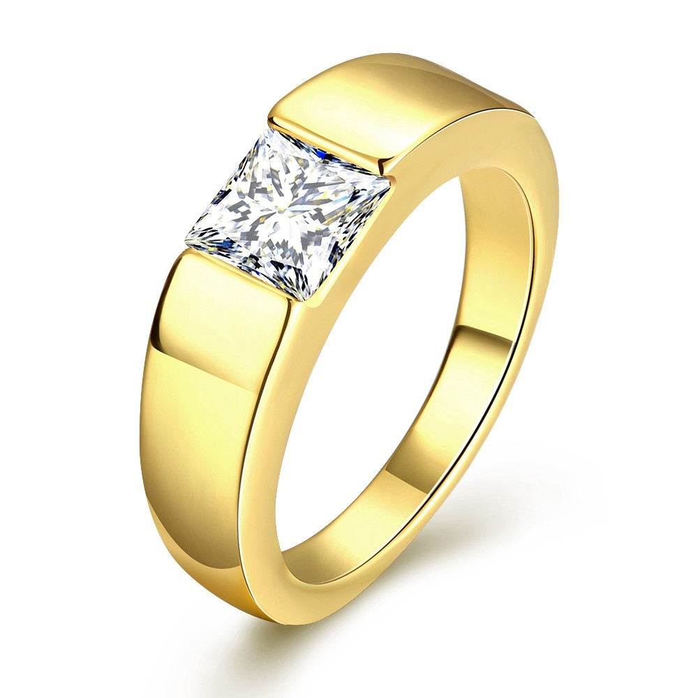 50% Off Gold Plated Ring Stone Men Cubic Zirconia Wedding