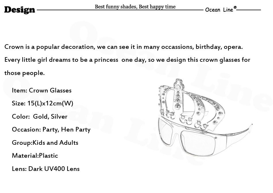 ff16ad84941 Beautiful Crown with Jewel Hen Party Costume Glasses Electroplating ...