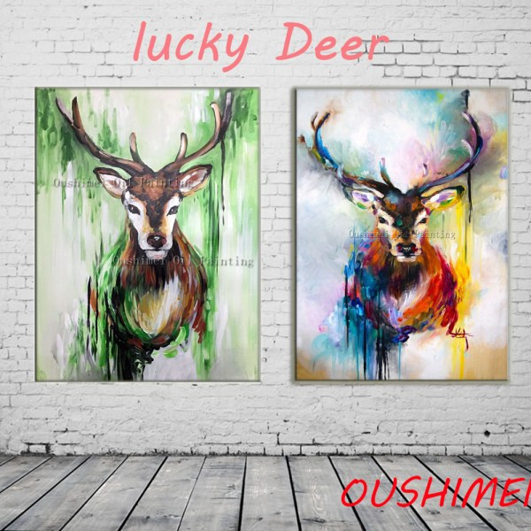 Handmade Oil Painting Lucky Deer Paintings Living Room Wall Modern Animals