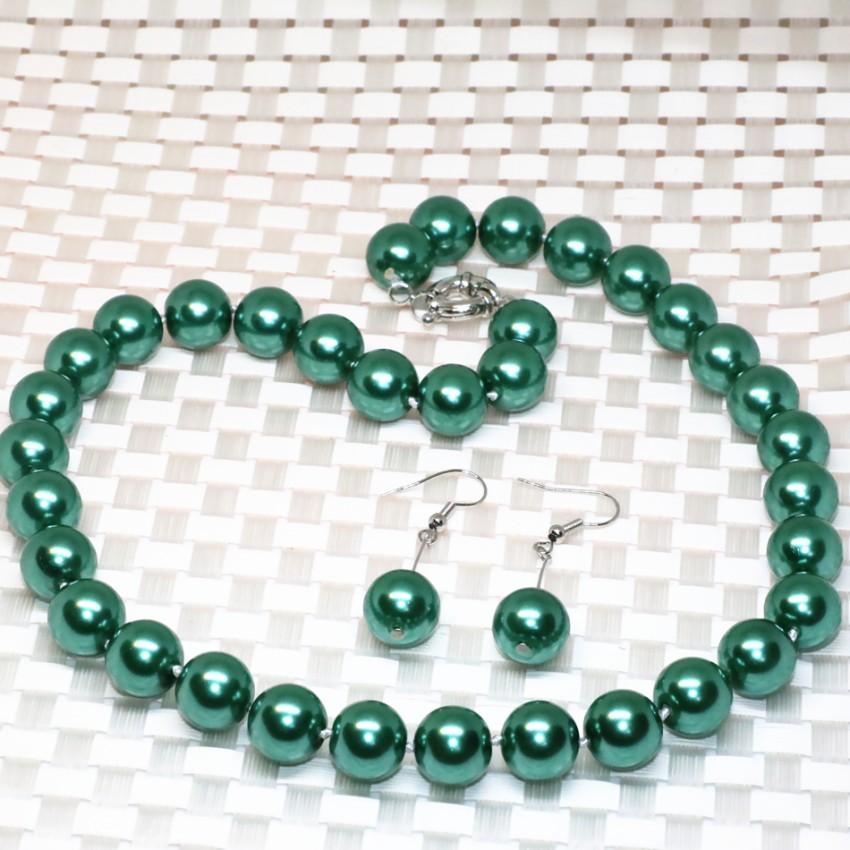 feb4f27ecacd Venta de fábrica original diseño Pavo Real collar verde pendientes 12mm  ronda simulada-perla Shell cuentas conjuntos de joyas 18 pulgadas b2322 ...