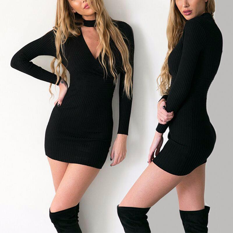 3d8de1ae5da Mode Sexy Frauen Strickkleid V-ausschnitt Langarm Mantel Feste Mini ...