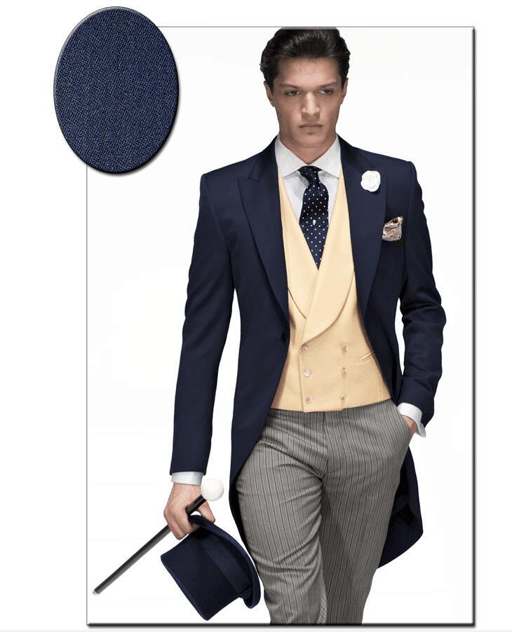 f60cc62682763 Последние пальто брюки дизайн темно-синий бежевый итальянский мужской  утренний костюм тонкий Fit 3 шт костюм смокинг на заказ выпускный Блейзер  Терно ...