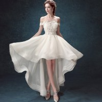 Elegant White Wedding Dresses Sexy short Bridal Gowns Boat ...