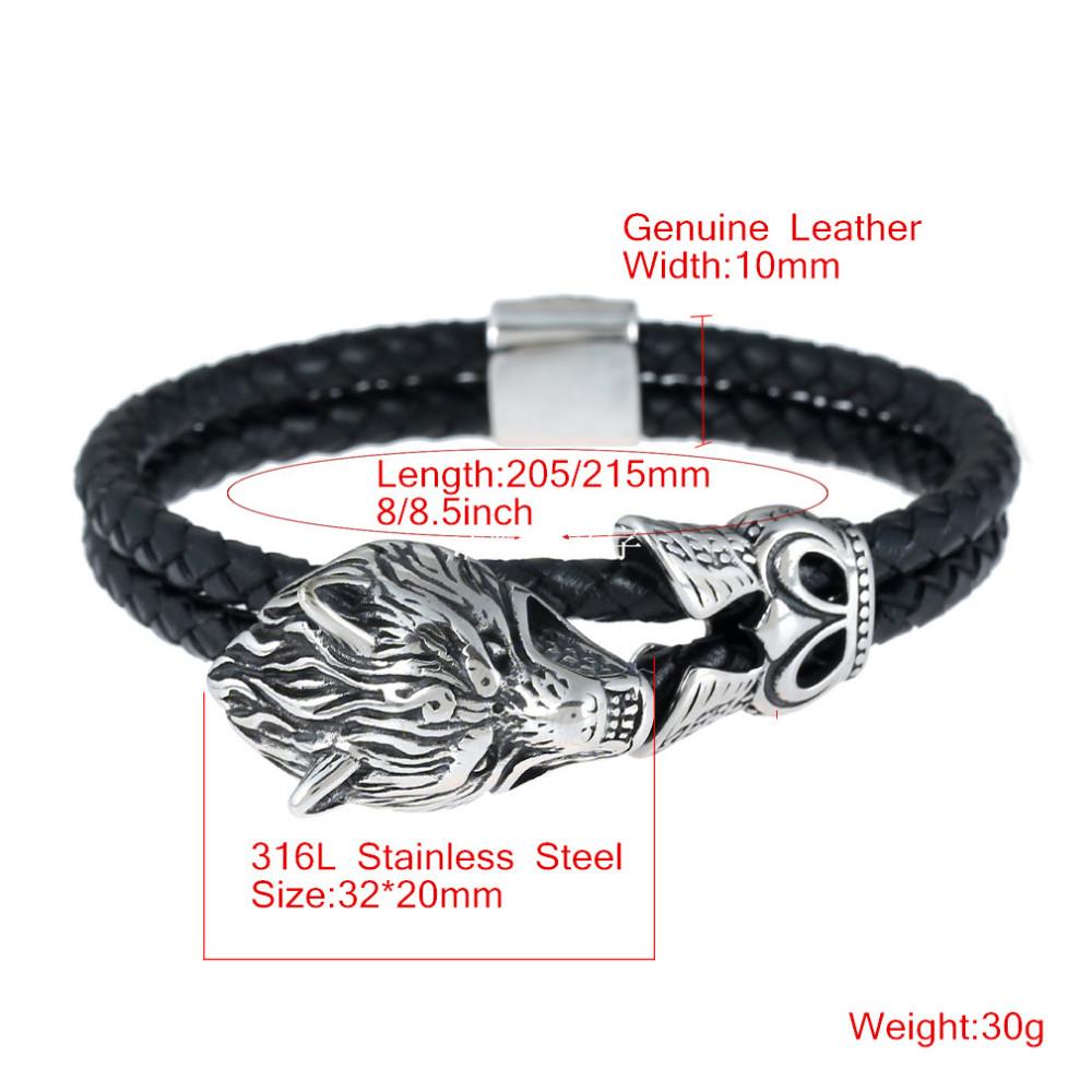 ᐅVintage Hommes Bijoux En Cuir Noir Corde Chaîne Bracelets En Acier ... a16eaf45719