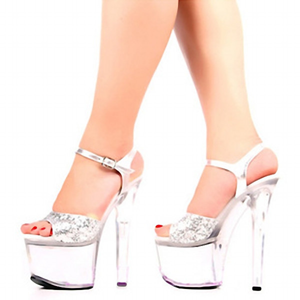 d590ebea2d 17 cm high heels and sexy shoes stage crystal high-heeled sandals night high  heel fashion shoes