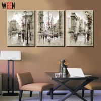 Canvas Printings Retro City Street Landscape 3 Piece ...