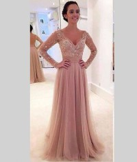 Sparkly Lace Long Sleeve Prom Dresses 2016 Backless Floor ...