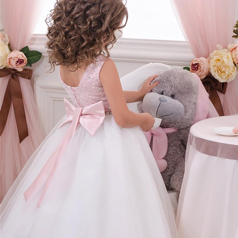 Ziemlich Knielangen Gedruckt Blume Mädchen Kleider 2019 Rosa Schärpe Kommunion Kleider Ärmel Festzug Kleider Für Mädchen Blumenmädchen Kleider Weddings & Events