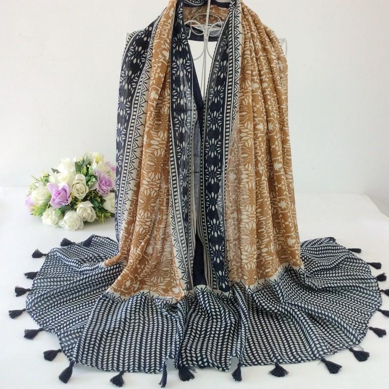 e93f79817 Luxury Style Plain With Lace Tassels Cotton Long Women Scarves And Shawls  Muslim Hijabs Muffler Bandana Headwear 10pcs lot A2-5 .