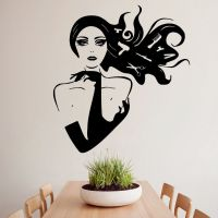 E197 Scissors Comb Beauty Hair Salon Girl Design Murals ...