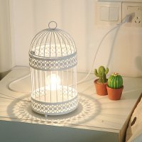 Fashion bird cage table lamp small night light real child ...
